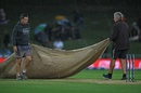 A persistent drizzle interrupted New Zealand's progress at McLean Park, New Zealand vs Bangladesh, 2nd T20I, Napier, March 30.2021