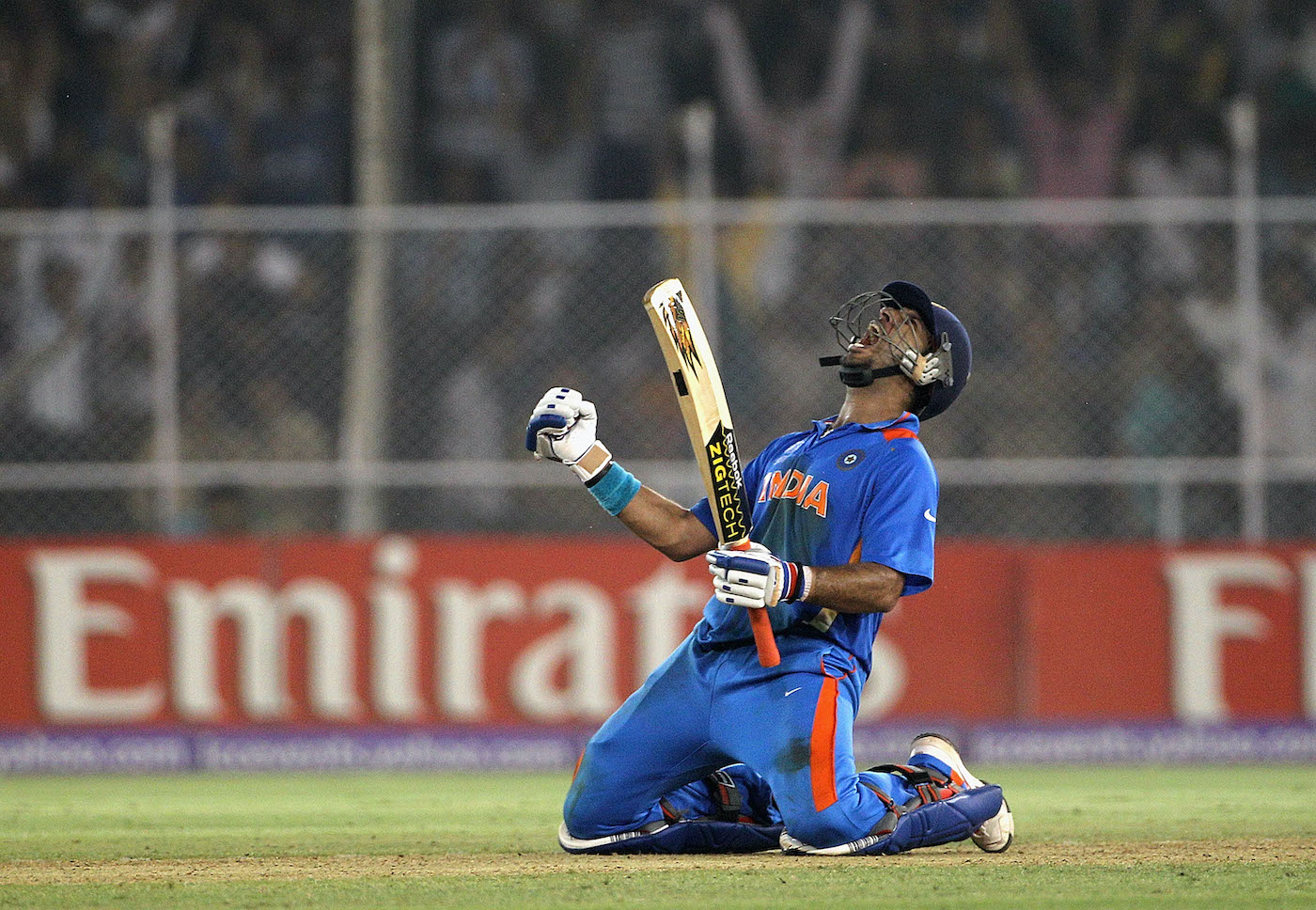 Hear me roar: Yuvraj Singh exults after hitting the winning runs against Australia
