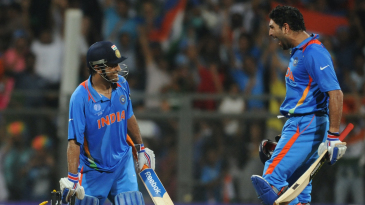 Yuvraj Singh roars as MS Dhoni uproots stumps after taking India to victory in the World Cup final