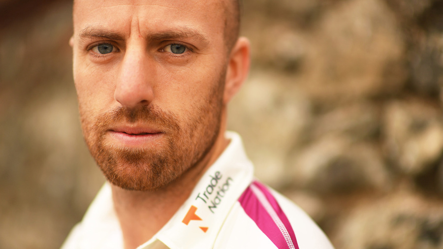 Jack Leach during Somerset's pre-season photo call