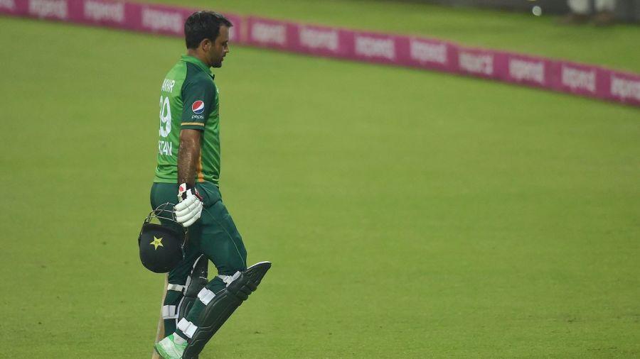 Fakhar Zaman walks back after taking Pakistan close