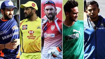 Composite: Rohit Sharma, MS Dhoni, Glenn Maxwell, Shakib Al Hasan, Prithvi Shaw
