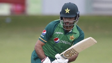 Fakhar Zaman taps the ball before setting off for a run