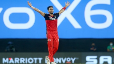 Harshal Patel celebrates after taking his maiden T20 five-wicket haul