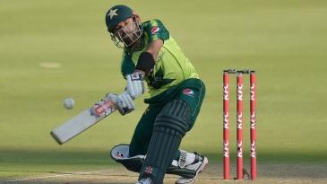 Mohammad Rizwan targets the midwicket boundary