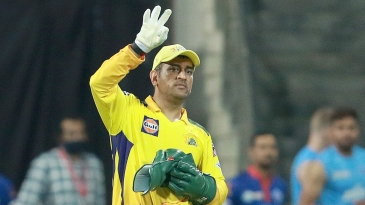 MS Dhoni gestures to his team-mates
