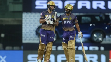 Rahul Tripathi congratulates Nitish Rana after the latter reached his fifty