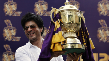 The Kolkata Knight Riders team owner Shah Rukh Khan with their first IPL trophy