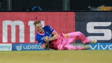 Ben Stokes tumbles while taking a catch