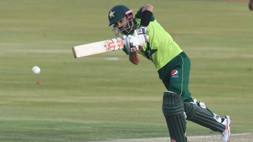 Mohammad Rizwan punches one in the direction of midwicket