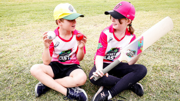 Kids play cricket during the Cumberland Regional School Holiday Program at Nolan's Reserve