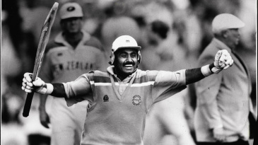 Javed Miandad celebrates the semi-final win