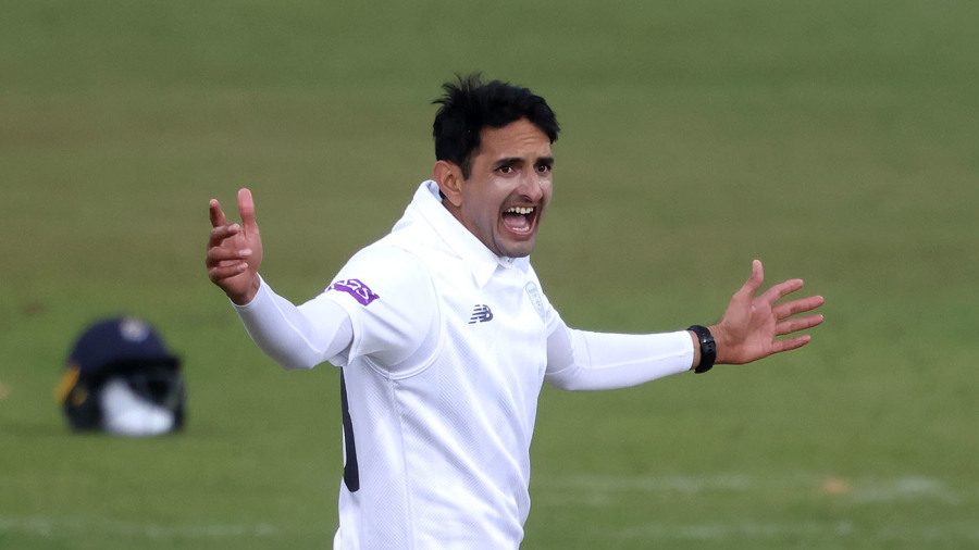 Mohammad Abbas appeals for a wicket