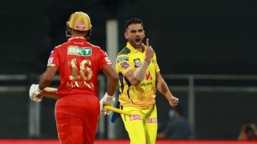 Deepak Chahar is pumped after sending back Mayank Agarwal