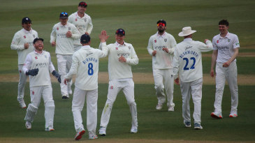 Durham celebrate another wicket as Essex crumble at Chelmsford