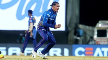 Rahul Chahar celebrates Abhishek Sharma's wicket