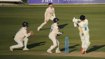 Jack Burnham cracks a six late in the day to lift Durham's victory hopes