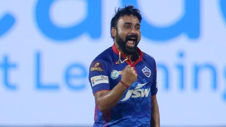 Amit Mishra exults after picking up a wicket