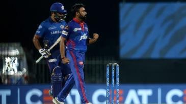 Amit Mishra is ecstatic as Rohit Sharma walks back