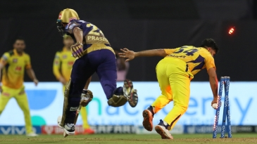 Prasidh Krishna was run out trying to get Pat Cummins back on strike, bringing the game to a close