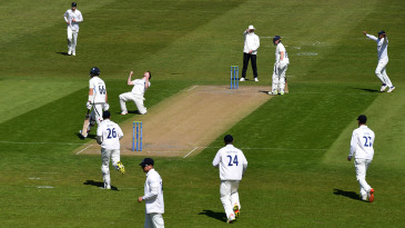 George Garton celebrates after trapping Joe Root lbw