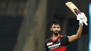 Devdutt Padikkal acknowledges the applause on reaching his maiden IPL century