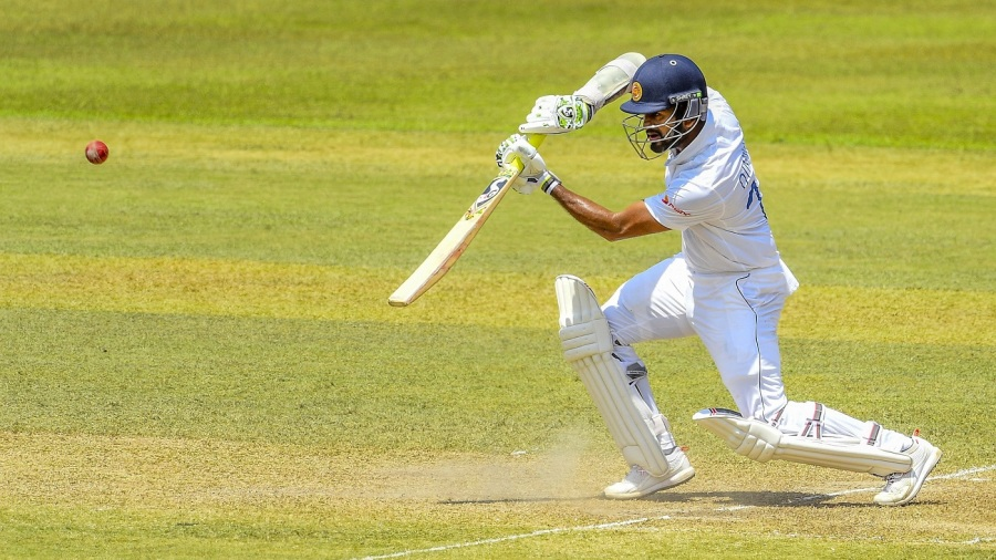 Dimuth Karunaratne caresses one on the off side
