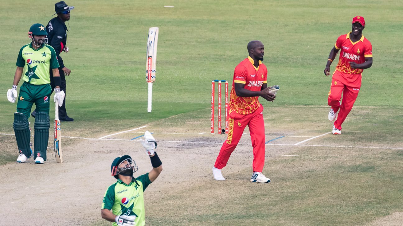 Luke Jongwe dismisses Mohammad Rizwan for the first of his four wickets in a historic win