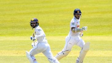 Dimuth Karunaratne and Dhananjaya de Silva run between the wickets