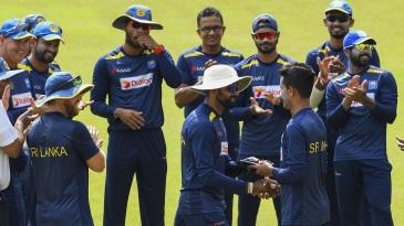 Praveen Jayawickrama receives his Test cap