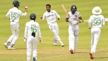 Mehidy Hasan Miraz provided some respite with the wicket of Oshada Fernando