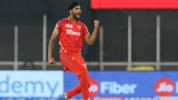 Harpreet Brar roars after taking a wicket