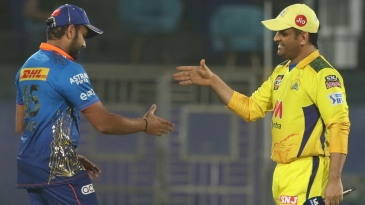 Rohit Sharma and MS Dhoni meet up at the toss