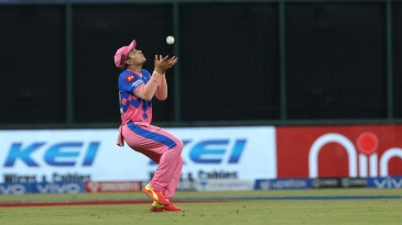 Anuj Rawat holds on to his third catch of the day