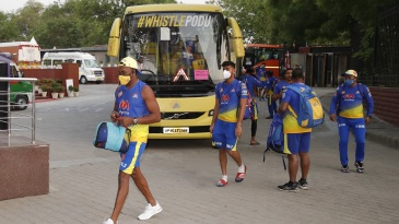The Chennai Super Kings contingent arrive for a match in Delhi