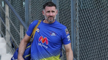 Chennai Super Kings batting coach Michael Hussey looks on