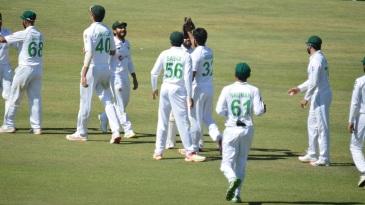 Hasan Ali celebrates one of his five wickets