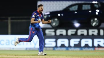 Avesh Khan celebrates a wicket