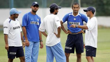 Virender Sehwag, Yuvraj Singh, Mohammed Kaif, Irfan Pathan and Ajit Agarkar speak during a practice session