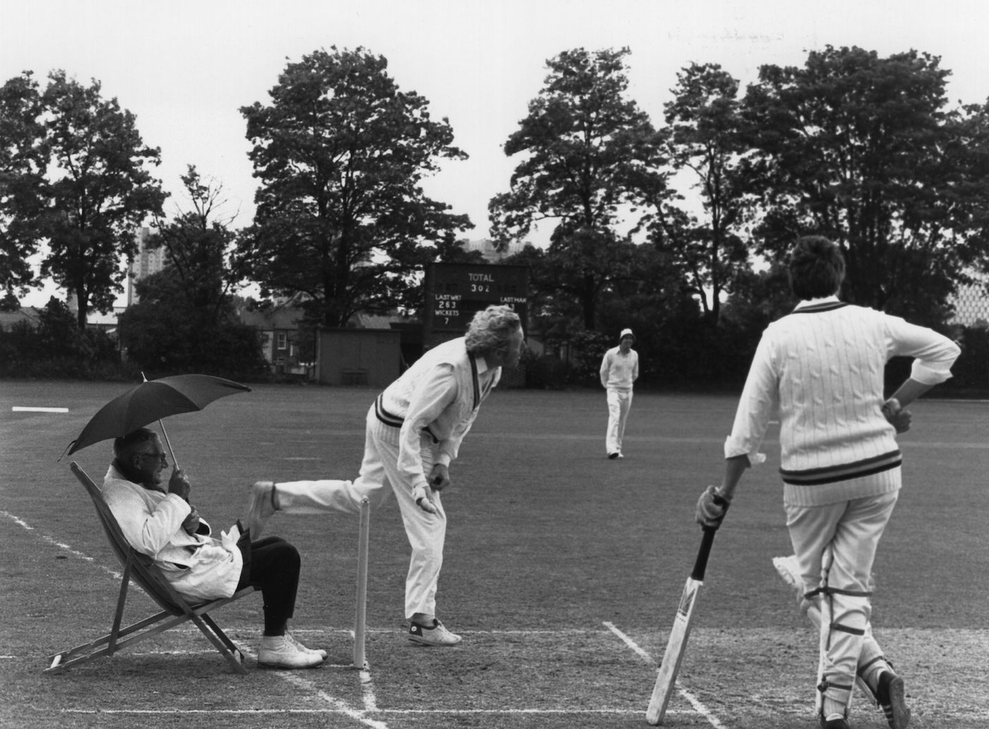 You'll go off for rain when umpire Percy Lister says it's time. Right now he can barely feel a drop