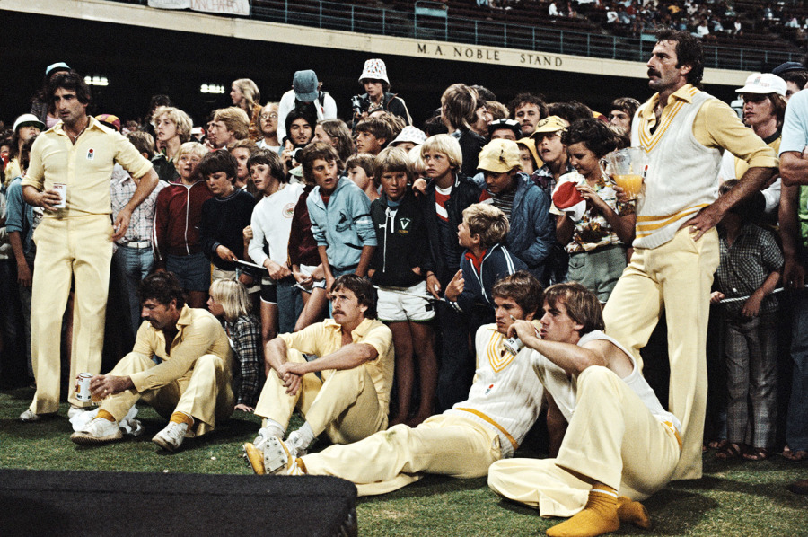 The disappointed Australians look on after losing the World Series Supertest final to the World XI at the SCG in February 1979. Laird sits third from right