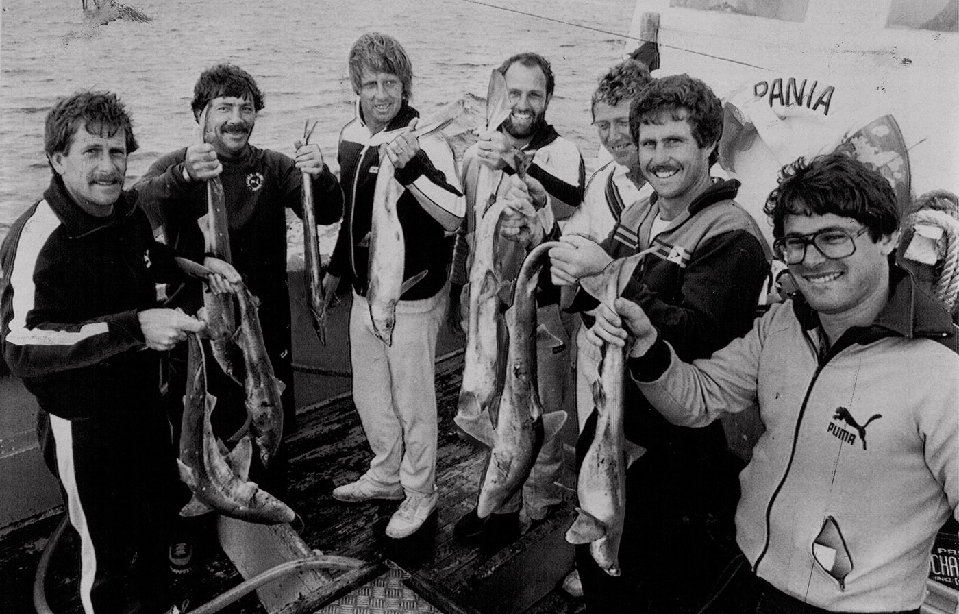 From left: Laird, Marsh, Jeff Thomson, Ray Bright, Kim Hughes and Graeme Wood along with the team masseur at Cape Saunders, New Zealand, 1982