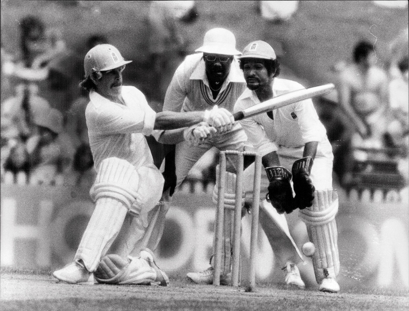 Laird sweeps offspinner Albert Padmore in a Supertest semi-final in Sydney in 1979