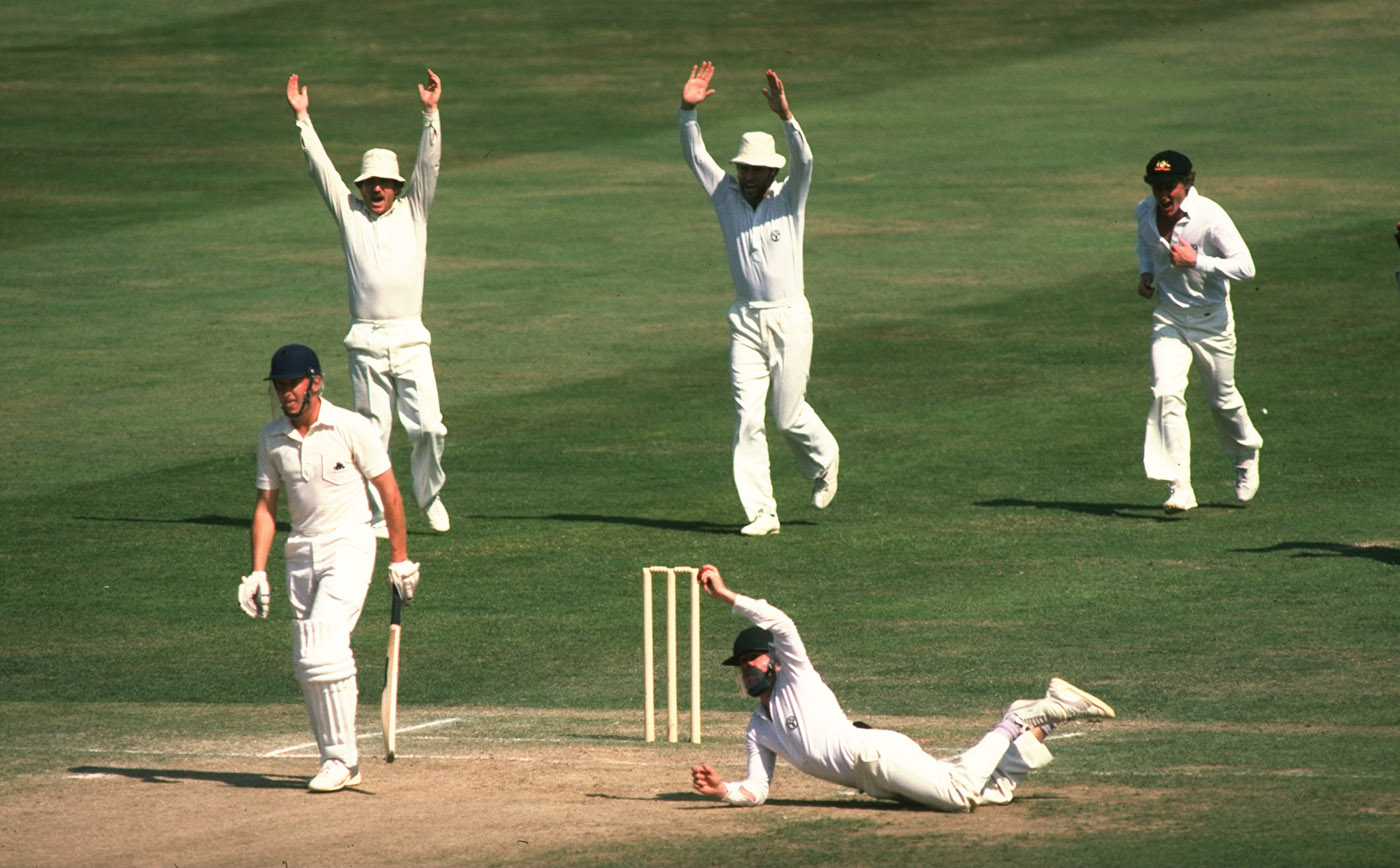Not content with just seeing off the fast bowlers with the bat, Laird also fielded at short leg for them. Here he takes a catch to dismiss Bill Athey off Len Pascoe at Lord's in 1980