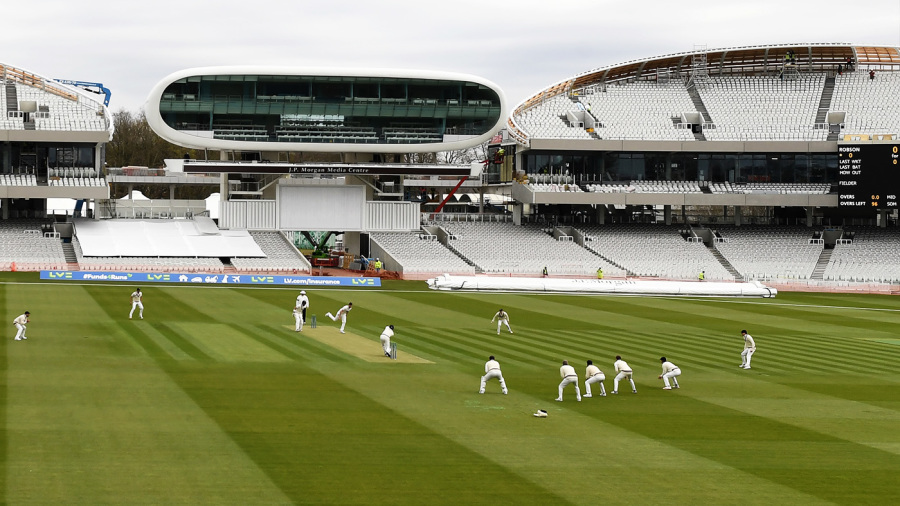 A general view of Lord's as Sam Robson drives