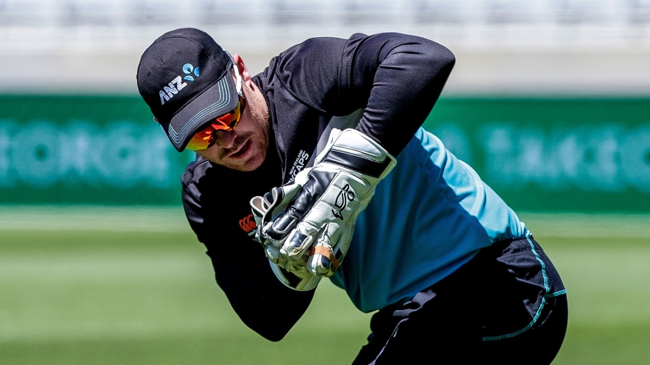 Tim Seifert catches the ball during a training session at Eden Park