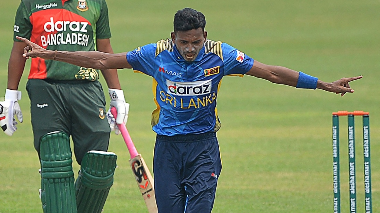 Dushmantha Chameera celebrates a wicket
