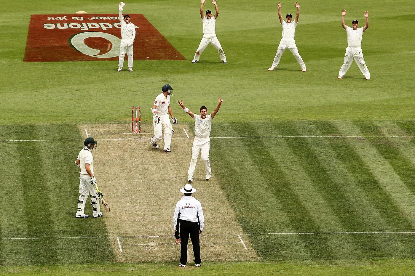 Hobart huzzah: Boult made his Test debut in an unforgettable seven-run win in Australia, 2011-12