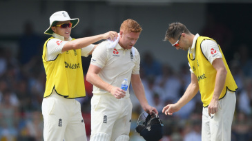 Sam Curran and Chris Woakes help Jonny Bairstow cope with the heat