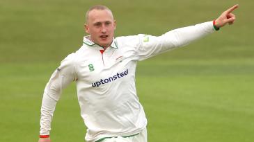Callum Parkinson celebrates a wicket